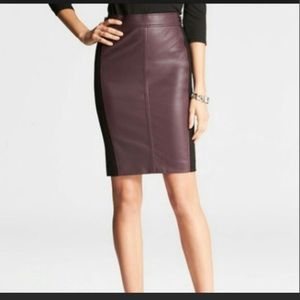 Ann Taylor Ponte Faux Leather Pencil Skirt